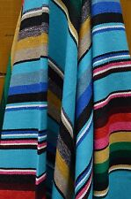 "Mexican Blanket ALL COTTON Serape in ""Deep Aqua"" PREMIUM & Handwoven Yoga Throw"