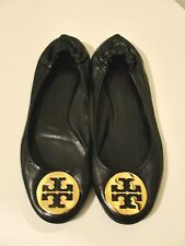 TORY BURCH*CUTE!! REVA BLACK LEATHER & GOLD TOE LOGO BALLET FLATS SHOES*11 M