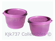 2 NEW LIMITED RELEASE TUPPERWARE PURPLE/PINK SNACK CUP CONTAINER W/SEAL - 4 oz