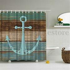 Shower Curtain Fabric Waterproof Bathroom Boat Anchor Design Polyester 12 Hooks