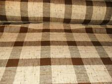 New DRAPERY FABRIC Brown PLAID TWEED CASEMENT Open Weave TEXTURE Acrylic
