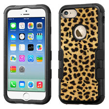 3-Layer Hybrid Tough Phone Case (Blk/Black) for Apple iPhone 7 - Gold Cheetah