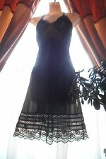 Vintage Midnight Black Lovely Lace Slip Sz 34 Burlesque