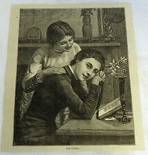 1882 magazine engraving ~ THE SISTERS, two women at desk
