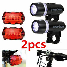 2 x 5LED Lamp Bike Bicycle Front Head Light+Rear Safety Waterproof Flashlight