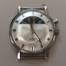 RARE VINTAGE SHEFFIELD 17 JEWEL JUMP HOUR WATCH WORKING (8453-WATCHMALL-MS)