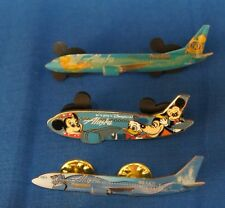 Disney Alaska Airlines Set of 3 Pins Minnie Donald Goofy Mickey Tinker Bell