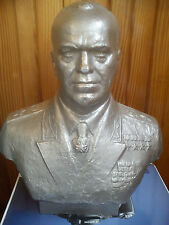 Russian Soviet metal bust statue marshal victory WWII Zhukov 1976year sc Baganov