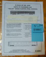 American Model Builders #5500 Car Sides for: Santa Fe Passenger Car Sleeper