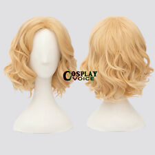 Lolita Light Blonde Curly Short Anime Women Girls Heat Resistant Cosplay Wig+Cap
