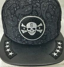 Hater Snapback OuterSpace Hat Black Pasley Amoeba Print OS Army 4☆Brim Bold Rare