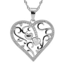 "Sterling Silver, White CZ Heart Pendant with Necklace, 17.5"" Extension Chain"
