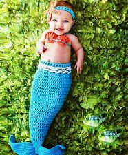 Handmade New Baby Infant Aqua Blue Mermaid Crochet Costume 0 size gift cloth