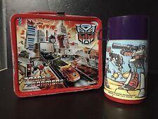 Vintage 1986 Transformers Metal Lunchbox & Thermos By Aladdin Ind.