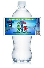 20 PJ MASKS BIRTHDAY PARTY PERSONALIZED WATER BOTTLE LABELS WATERPROOF & GLOSSY