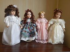 """Lot of 4 Vintage 17-16""""  Porcelain Dolls in Good Condition, Tuss, Brinns, DanDee"""