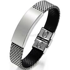 Fashion Silver Stainless Steel Black Leather Cuff Bangle Bracelet Mens Wristband