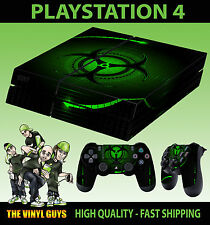 PS4 Skin Green Biohazard Danger Symbol Sticker + Pad decals Vinyl LAY FLAT