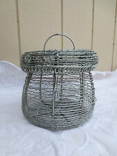 Vintage Round Metal Wire Woven Basket with Handle & Lid / Egg Basket