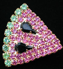 GOLD PRONG SET PINK GREEN BLACK RHINESTONE FRUIT WATERMELON SLICE PIN BROOCH