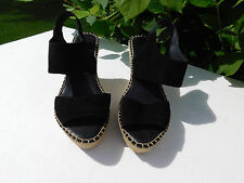 DESIGNER LADIES BLACK SUEDE OPEN TOED  SLINGBACK WEDGE HEELS SIZE  8. 5 M /  39