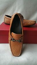 Salvatore Ferragamo Parigi 8 Croc Crocodile Driving Bit Loafer Gancio Shoe Brown