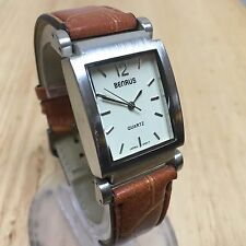 Vintage Benrus Men Lady Leather Rectangle Analog Quartz Watch Hours~New Battery