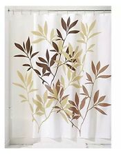 InterDesign Leaves Fabric Shower Curtain 72 x 72 Brown New