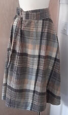 Donnkenny Gorgeous Tan Plaid Vintage Wool Blend Wrap Style A-line Skirt 13/14