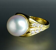 18K Yellow Gold HUGE 12+mm Large White South Sea Pearl Diamond Cocktail Ring