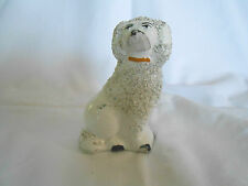 Vintage Stafforshire white Spaniel Poodle dog figure unmarked