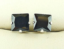 BLACK DIAMOND SILVER STUD EARRINGS SQUARE PRINCESS CUT 6mm CREATED STONE  s1015