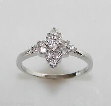 size M 925 Sterling Silver Created Diamond Cluster Engagement Style Ring
