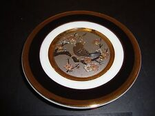 "The Art of Chokin 24k Gold Edged 4"" Plate Japan Bird With Floral Design Mint"