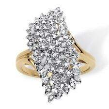 14k Yellow Gold Fn 1.50 ctw Round Brilliant Diamond Spiral Cluster Ring Size 7