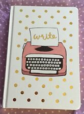 New Blank Lined Hardcover Typewriter Bound Notebook Polka Dot White Pink Journal