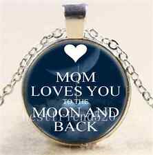 Mom Love You to the Moon and Back Cabochon Glass Tibet Silver Chain Necklace