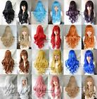 Hot sale! 12 Colors women girls Long Curly Cosplay Party Wavy Wig 80cm+gift