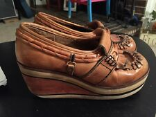 RArE! Vintage 1970's Brown Leather Suede Wedge PLaTfOrM HiPPiE BoHo Clogs- sz 6