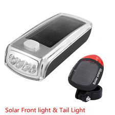 Solar Bike Bicycle USB Rechargeable Front Headlight & Back LED Tail Light Combo