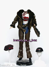 Harley Davidson Motorcycle Fashion for Barbie Doll BROWN LEATHER FUR BIKER CHICK