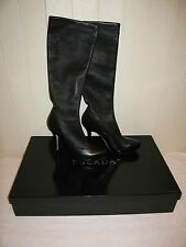 Escada Black Leather Knee High Stilleto Boots, Size EU 40, Brand New