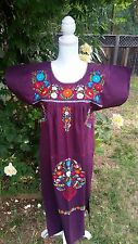 Mexican Dress Puebla Peasant Embroidered Reddish Purple Small
