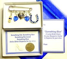 Something Blue Lucky Bridal Brooch Pin Charm Garter/Bouquet Lucky Sixpence Pearl