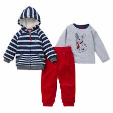 NEW Little Me Boy's 3-piece L/S Tee Jacket Pant Sets Red/Navy/Grey Multi 24M