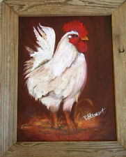 Country Folk Art 9x12 White Rooster Rustic Wooden Framed #Painting Penny StewArt