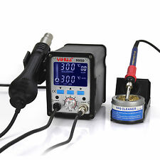US-YIHUA 995D LCD SMD HOT AIR REWORK STATION WITH SOLDERING STATION NEW110V US C