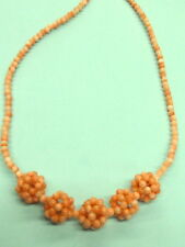 "VINTAGE  JEWELRY HAND STRUNG NATURAL ANGEL SKIN CORAL NECKLACE 16"" NAT. COLOR"