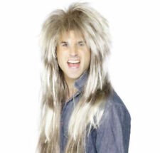 Mens 80's Mega Long Mullet Wig Fancy Dress Star Rocker Blonde Rock n Roll Retro