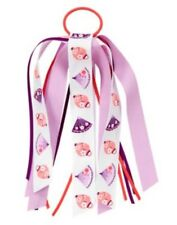 GYMBOREE CHERRY BLOSSOM LONG RIBBON HOLDING FAN PRINTED PONYTAIL HOLDER 1-CT NWT